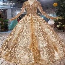LSS260 LuxuryความยาวQueenชุดราตรีCurve Shape Ballชุดsparkly Golden sequined Evening PARTY dressesกับGlitter