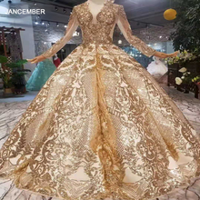 LSS260 럭셔리 층 길이 퀸 댄스 파티 드레스 커브 모양 볼 가운 반짝이와 반짝 이는 황금 sequined 저녁 파티 드레스
