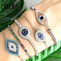 FLOLA 925 Plata de Ley pulsera de ojo malvado Zirconia pulsera de Ojo Azul joyería de ojo turco pulsera de tenis pulsera ojitos brtb70