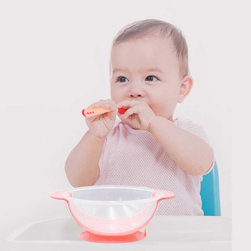 Термочувствительная ложка для кормления, детская посуда, миска для еды, Обучающие блюда, тарелка для обслуживания, поднос, присоска, набор детской посуды