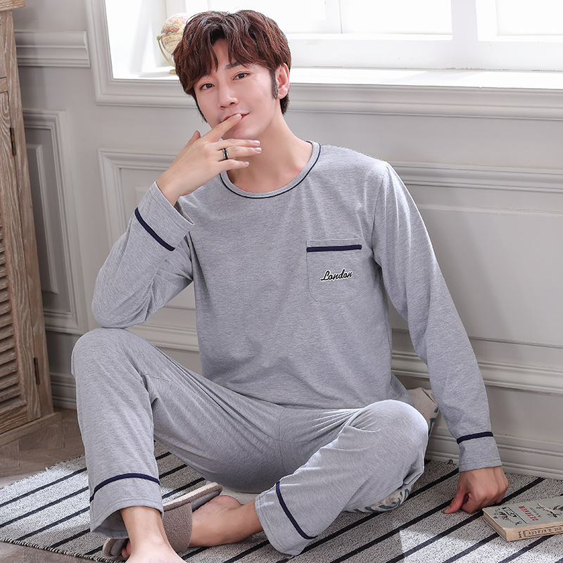 Autumn Winter Knitted Cotton Gray Men's Pyjamas Solid Pajamas Set Casual Male Sleepwear Pyjamas Night Pijama Hombre 4XL Homewear