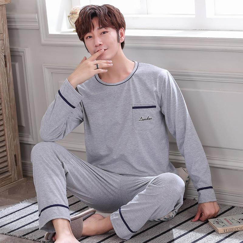 Autumn Winter Knitted Cotton Gray Men's Pyjamas Solid Pajamas Set Casual Male Sleepwear Pyjamas Night Pijama Hombre 4XL Homewear