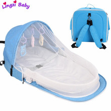 Portable Baby Bed 3pcs Multifunction Travel Sun Protection Mosquito Net Toys Baby Foldable Breathable Mummy Bag Baby Nest Bed