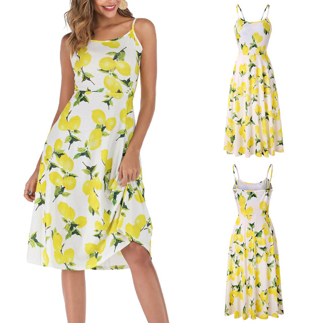 Dresses For Women Casual Elegant Lemon Printing Sleeveless Strappy Party O-Neck Summer Dress платья для женщин осень