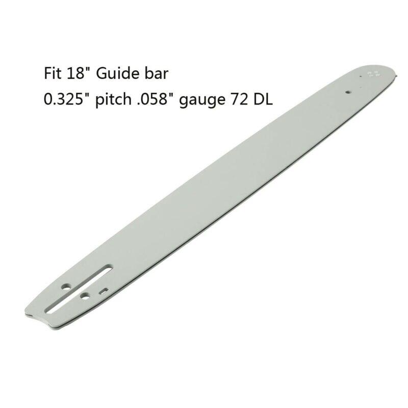 """18/"""" GUIDE BAR /& Chain 0.325/"""" .058/"""" Guage 72DL For 52CC 58CC 62CC CHAINSAW"""