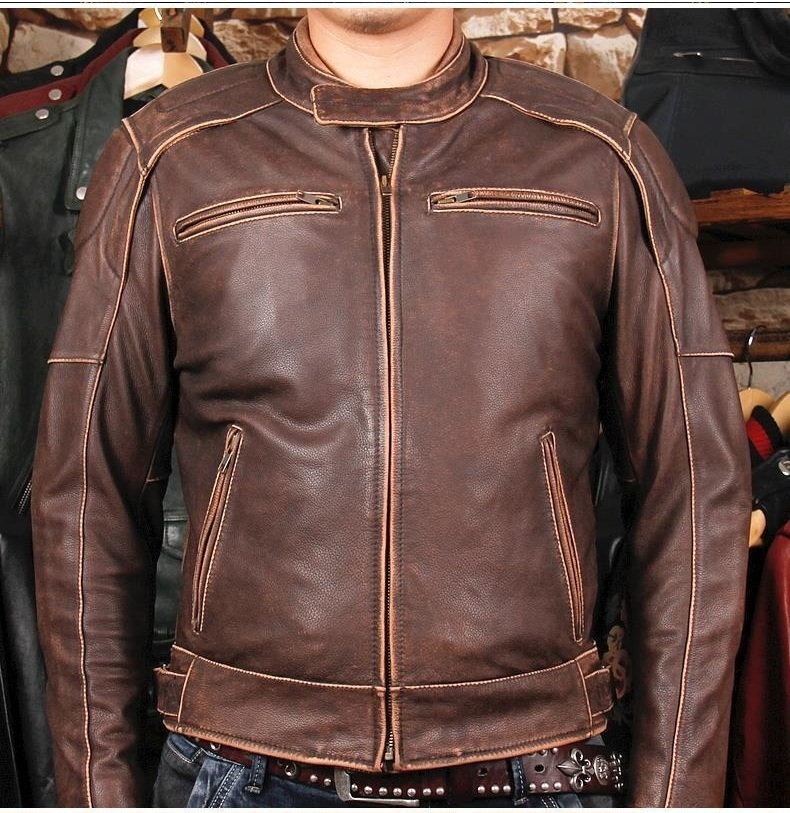 Free Shipping.new Style Brand Man Thicker Vintage Leather Jackets Men's Genuine Leather Classic Jacket.plus Size Clothes