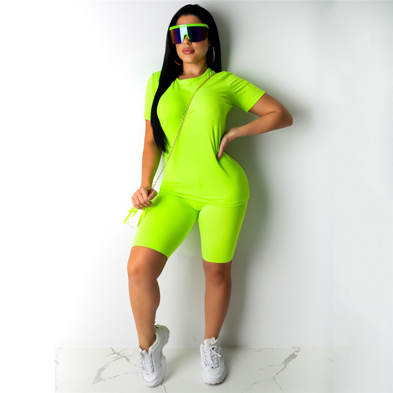 Hot Sale Casual Two Piece Set Women Plain Solid Clothes Set Short Sleeves Top T Shirt Short Suit Ladies 2 Piece Set