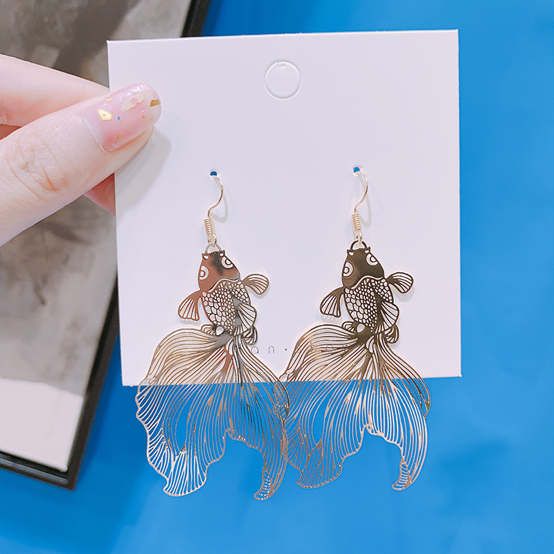 Chinese Style Personality Vintage Goldfish Metal Rhinestones Love Dangle Earrings Fashion Temperament Ladies Jewelry Accessories 4
