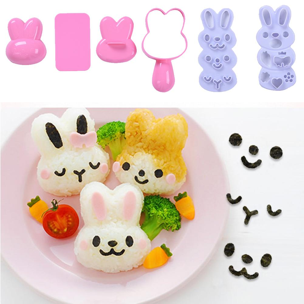Rice Ball Mold Set Cartoon Rabbit Pattern Sushi Making Mold Kit Bento Accessories Rice Mould Seaweed Cutter Kitchen Gadgets