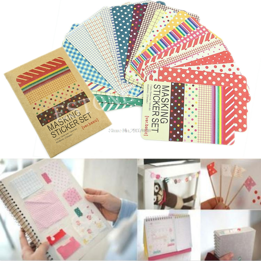 Better 27X Washi Scrapbook Basic Masking Tape Craft Stickers Pack Decorative Labelling Set Au13 19 Droship