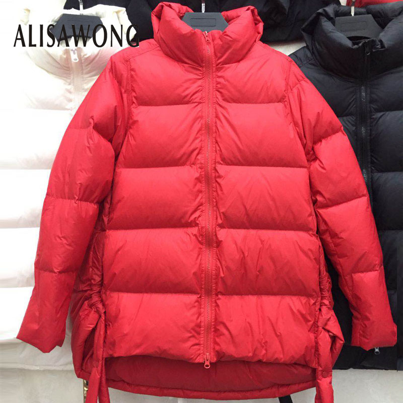 New Winter Stand Collar Ultra Light   Down   Jackets 2019 Women Slim White Duck   Down     Coat   Female Warm Parkas Loose Outerwear
