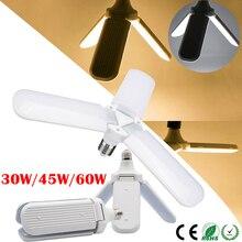 30W/45W/60W E27 LED Bulb Super Bright Foldable Fan Blade Angle Adjustable Ceiling Lamp Home Energy Saving Lights AC95-265V  D30