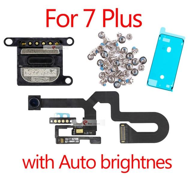 1 Uds. Nuevo Cable flexible de luz de Sensor de proximidad para iPhone 7 Plus 5,5 cámara frontal con tornillos conjunto de auricular