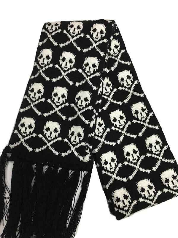 Fashion Skull Knitted Women Men Winter Scarf Skeleton Scarves Party Wraps with Black Fringe