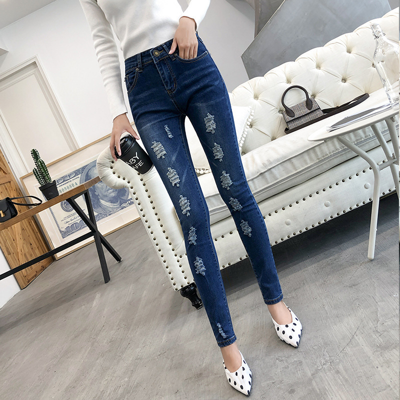 2019 Spring And Autumn New Style High-waisted With Holes Jeans WOMEN'S Ninth Pants Elasticity Tight-Fit Skinny Pants Korean-styl