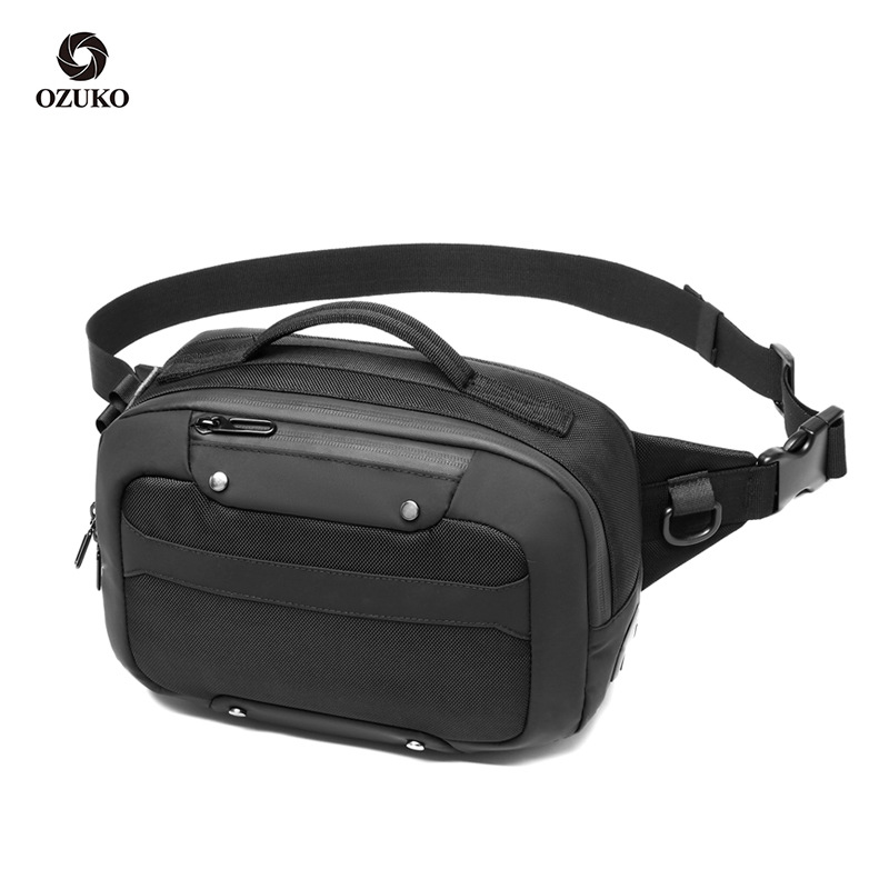 OZUKO Waist Bag Men Multifunction Waterproof USB Crossbody Belt Bag Small Phone Pouch Bags Male Short Travel Chest Fanny Pack