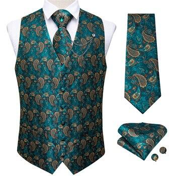New Teal Green Paisley 100% Silk Formal Dress Vest Men Waistcoat Vest Wedding Party Vest Tie Brooch Pocket Square Set DiBanGu 17