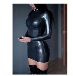 Латексное Платье женское сексуальное летнее латексное платье с длинным рукавом на молнии сзади