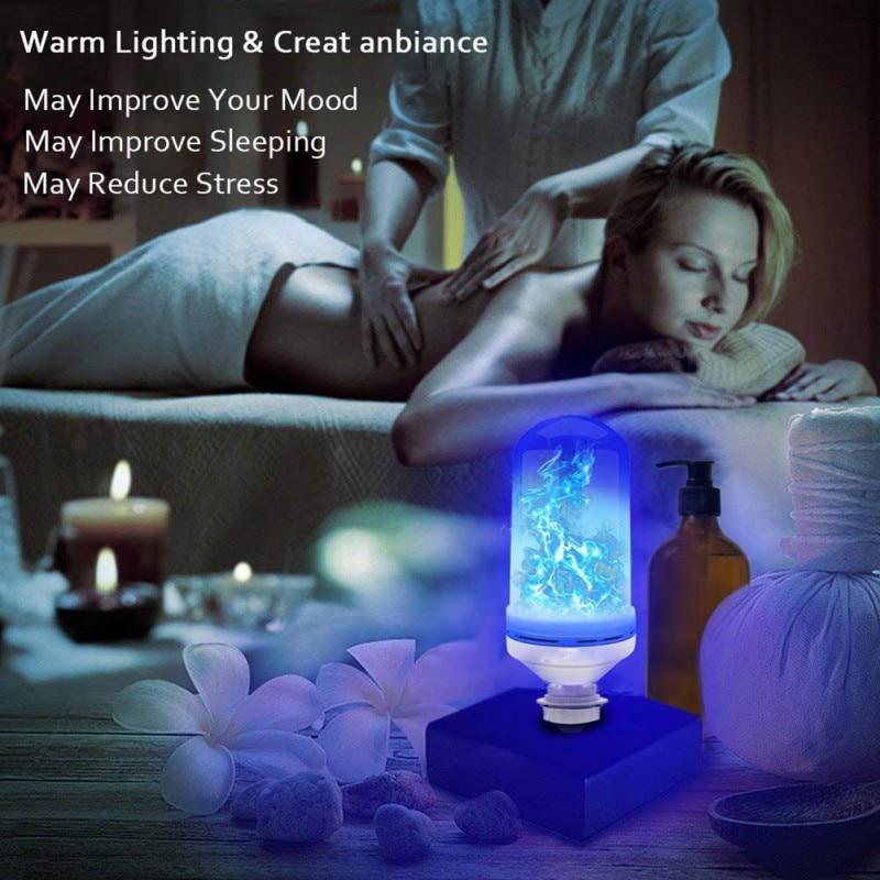 App inteligente led efeito de chama lâmpada 4 modos com efeito de cabeça para baixo 2 pacote e26 bases decoração festa - 6