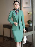 Fashion Styles Formal Uniform Designs Blazers Set for Women Business Work Wear Suits with Dress and Jackets Coat OL Blazers Set