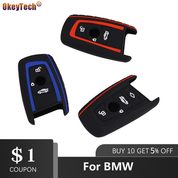 OkeyTech 3/4 Buttons Car key Silicone Case Cover Protect For BMW F10 F20 F30 Z4 X1 X3 X4 M1 M2 M3 E90 1 2 3 5 7 SERIES Remote image