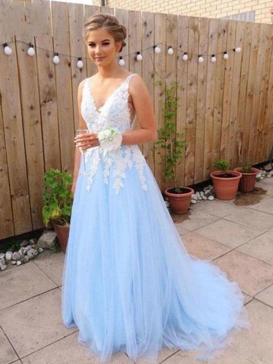 2020 elegante céu claro azul vestidos de