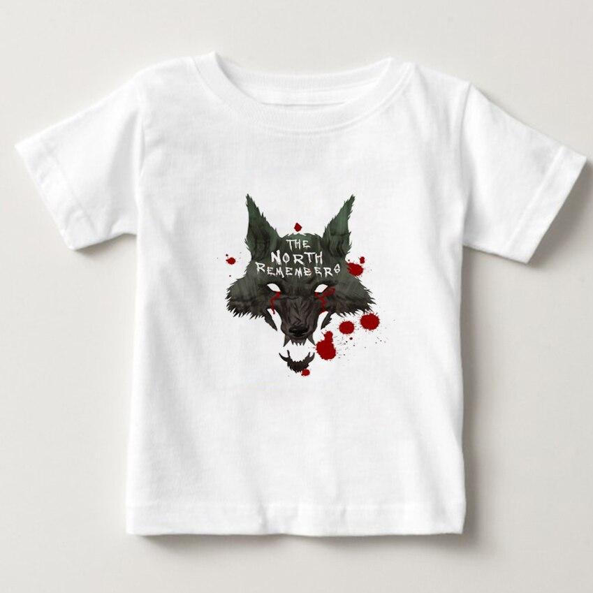 Casual  Fashion Children T-shirt Game of Thrones Child Fresh Girl Short Sleeve T-shirts Wolf PRINT