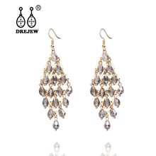DREJEW Long Tassel Gold White Gray Crystal Pearl Statement Earrings 2019 925 Drop Earrings Sets for Women Wedding Jewelry HE136(China)
