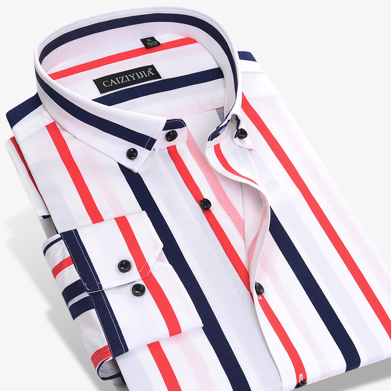 Men's Fashion Color Striped Dress Shirt Long Sleeve Standard-fit Button-down Collar Male Clothes High-quality Casual Shirt