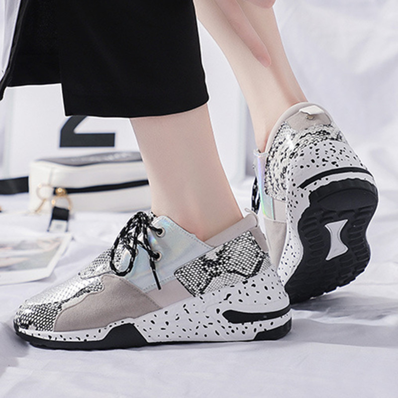 Women Shoes Autumn Leather Sneakers Women Platform Trainers Ankle Increase Shoes Ladies Casual Snake Pattern Female Shoes Size41