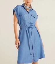 Denim Dress Women New ZA Style BlueRoll Cuff Shirt Short Sleeve Knee-Long with Tape