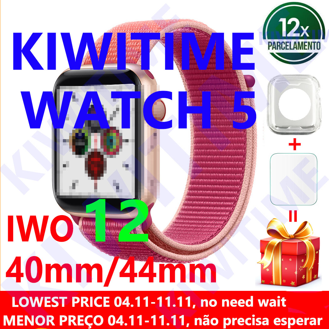 Kiwitime relógio 5 iwo 12 bluetooth relógio inteligente 1:1 smartwatch 40mm 44mm caso para apple ios android telefone freqüência cardíaca pk iwo 11