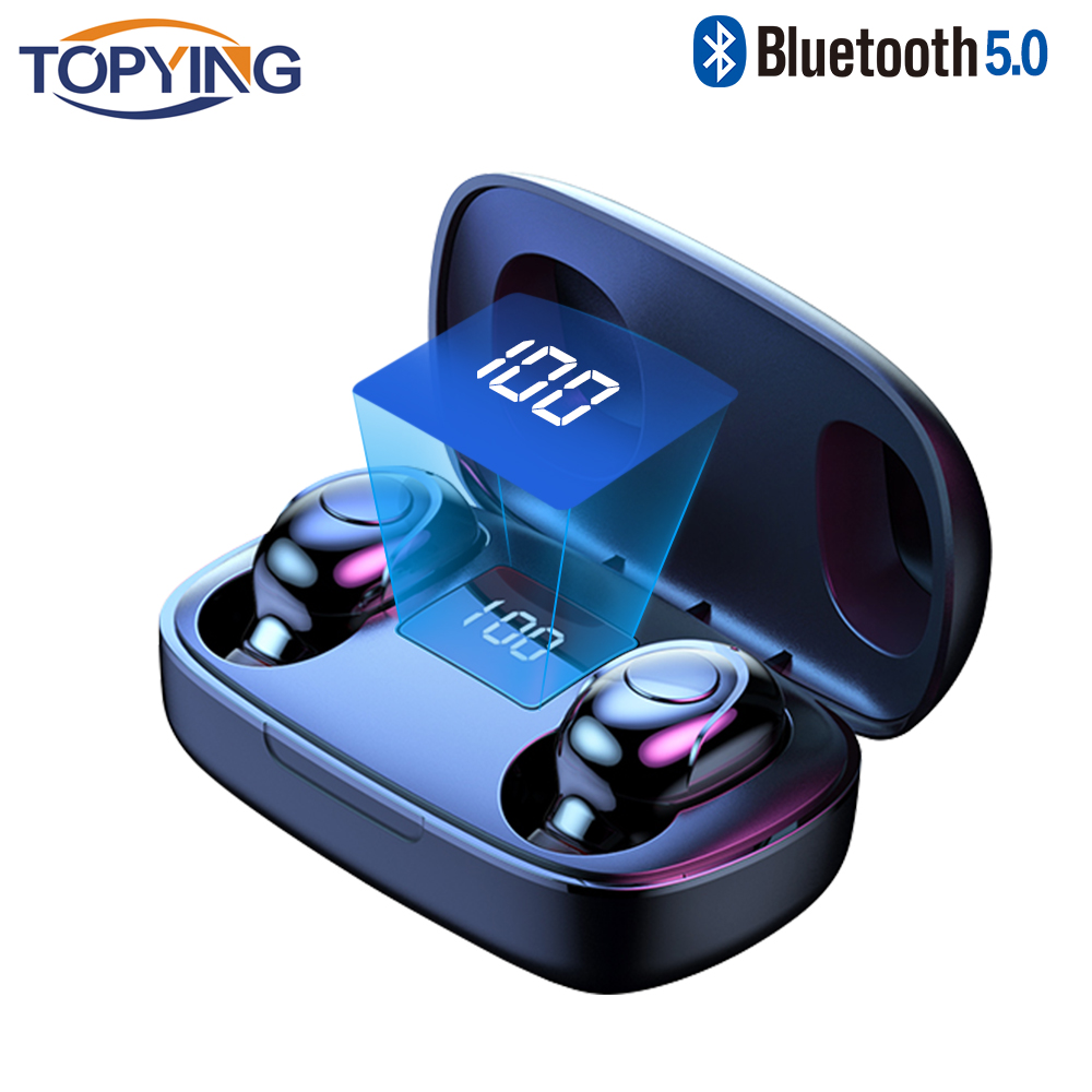 6D Wireless <font><b>Earphone</b></font> Bluetooth V5.0 Sports Wireless In-Ear LED Display Wireless Stereo Earbuds <font><b>with</b></font> <font><b>Microphone</b></font> HiFi Headset image