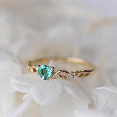 Ретро Кристалл Сердце женское медное кольцо Любовь Циркон в форме сердца алмаз белый K модные ювелирные изделия Подарок на годовщину свадьбы