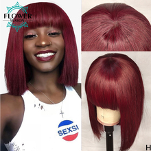 Human-Hair-Wigs Burgundy Full-Machine Bang Wig Short Scalp Colored Brazilian Bob Flowerseason