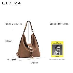 Image 2 - CEZIRA יוקרה נשים יומי נווד גבירותיי עור מפוצל גדול כתף תיק אופנה מתכת טבעות Tote נקבה מקרית Crossbody תיק שק