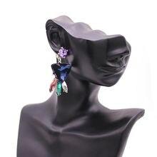D & d камень кристалл цветок висячие серьги для женщин Мода