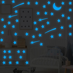 103Pcs/Lot Stars Meteor Moon Luminous Wall Sticker For Kids Room Glow In The Dark 3D Stickers Living Room Bedroom Decoration(China)
