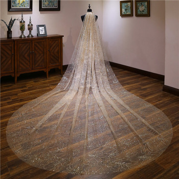 Elegant Champagne 3.5M Veil One Layer Gold Sequins Cathedral Wedding Veil Long Bridal Veil Wedding Accessories voile mariage