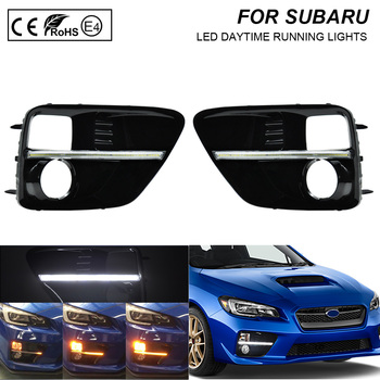 цена на For Subaru WRX/WRX STI 2015~2017 Daytime Running Dynamic Light DRL LED Cover With Yellow Turning Signal Functions