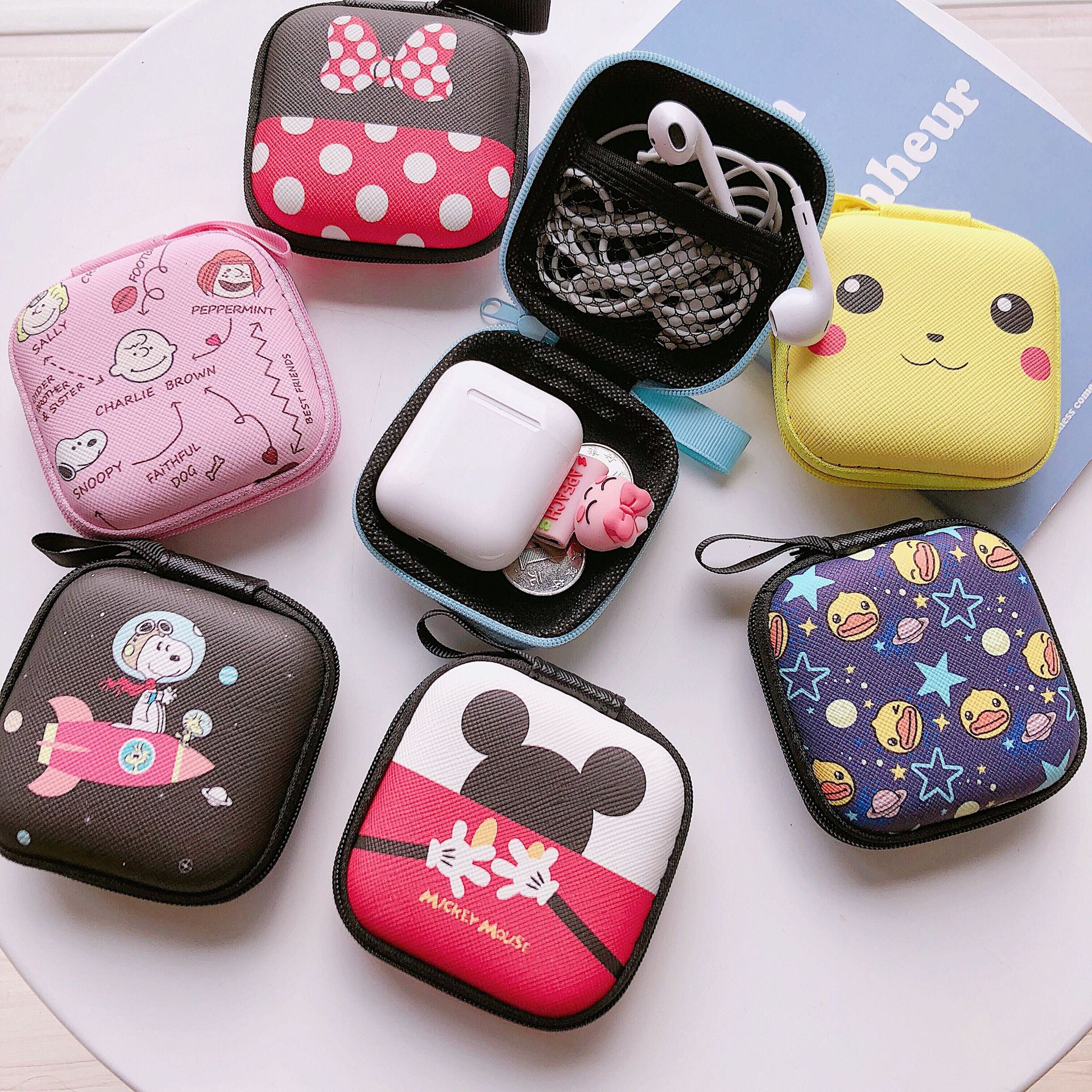 Disney Mickey Cartoon Coin Purse Minnie Boy Girl Coin Bag Handbag Headset Storage Bag Charger Data Cable Storage Box Clutch