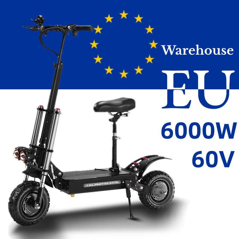 60V 6000W Electric Scooter 11 Inch Folding High Speed Off Road Electric scooters Adults Double motor E Scooter