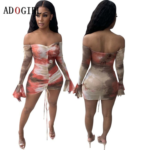 Adogirl Snake Print Long Sleeve Dress Women Evening Party Night Dresses Sexy See Through Drawstring Bodycon Slim Mini Dress 5