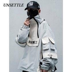 UNSETTLE 2020SS Männer/Frauen Mulit Taschen Farbe Block Patchwork Mit Kapuze Streetwear Harajuku Hip Hop Casual Baumwolle Jacken Mäntel
