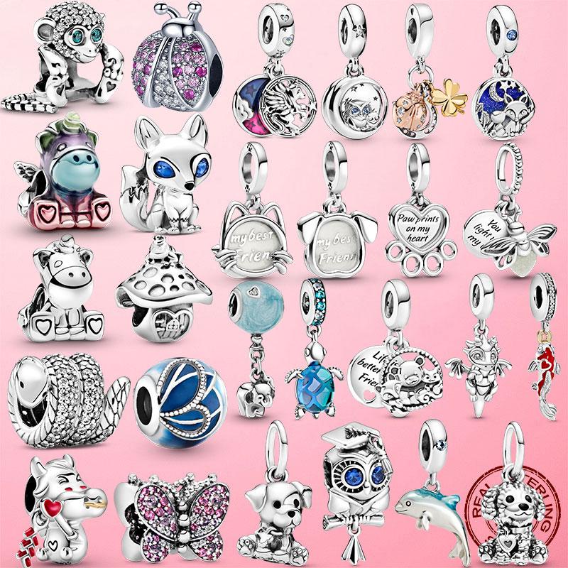 2021 Animal 925 Sterling Silver Horse Squirrel Elephant Llama Snake Fox Charm Beads fit pandora Bracelet Original Silver Jewelry