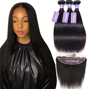 Image 1 - Straight Bundles With Frontal Closure Brazilian Human Hair Pre Plucked 13x4 Lace Frontal Closure With Bundles Non Remy