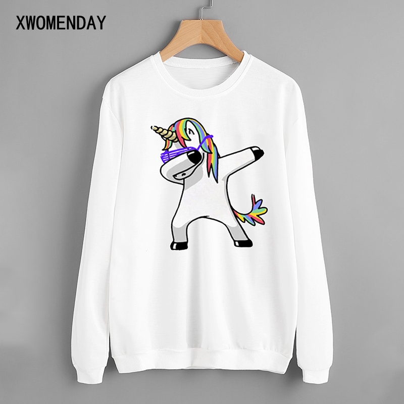 Autumn Winter Womens Long Sleeve Warm Pullover Round Neck White Sweatshirt Unicorn Printing Tops Lady Loose Casual Clothes