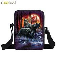 cool moon and howling wolf print small shoulder bag women handbag mens crossbody bags  Adult book bag student messenger bags