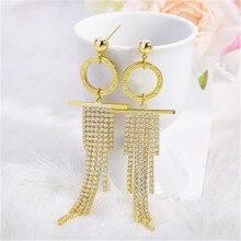 Delicate Gold Shiny Full Rhinestone  Multi Layer Tassel Drop Earrings For Women Fairy  Party Fashion Earrings Jewelry цена 2017