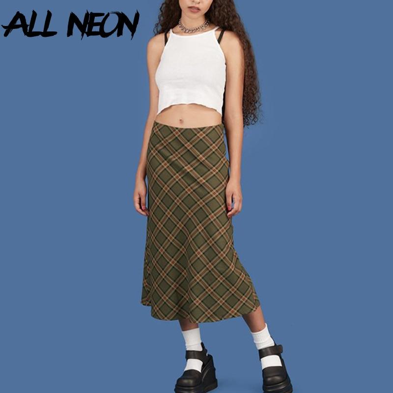 ALLNeon E-mädchen Plaid Hohe Taille Meerjungfrau Röcke Frauen Streetwear Baumwolle Lange Röcke Chic Vintage Y2K Stil Damen Bottoms sommer